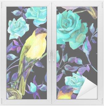Naklejka na Szybę i Okno Akwarela na ptaki niebieskie róże