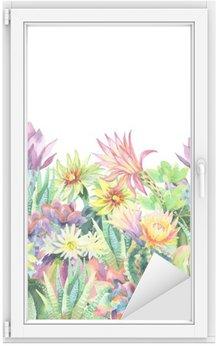 Naklejka na Szybę i Okno Akwarela tle kwitnących kaktusów