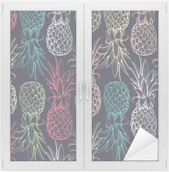 Naklejka na Szybę i Okno Ananasy szwu
