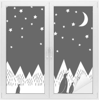 Naklejka na Szybę i Okno Arctic nocy ilustracji wektorowych z pingwinami rodziny, geometrycznych ośnieżonych gór, księżyca i gwiazd. Czarno-biały charakter druku. Śliczne górach tle krajobrazu.