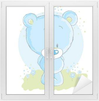 Naklejka na Szybę i Okno Baby blue niedźwiedź