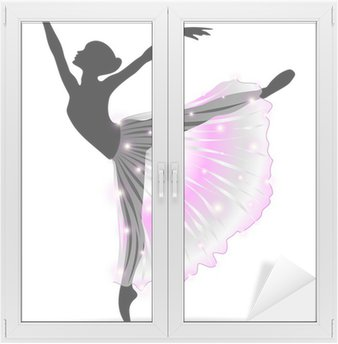 Naklejka na Szybę i Okno Ballerina Ballet Dancer Dance-Classic-Vector Sylwetka