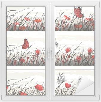 Naklejka na Szybę i Okno Banery graficzne z dzikich kwiatów i motyli