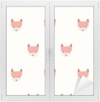 Naklejka na Szybę i Okno Bez szwu cute lisa wzór
