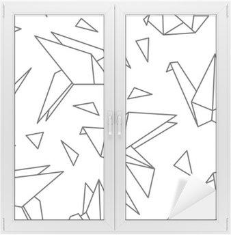 Naklejka na Szybę i Okno Bez szwu deseń z ptaków origami. Może być stosowany do tapety pulpitu lub ramki do powieszenia na ścianie lub plakat, na wzór wypełnienia tekstury powierzchni tła, strony internetowej, tekstylia i wiele innych.
