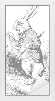 Naklejka na Szybę i Okno Biały królik z alice wonderland zegarka