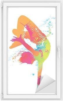 Naklejka na Szybę i Okno Chłopiec taniec z kolorowe plamy i odpryskami. wektor