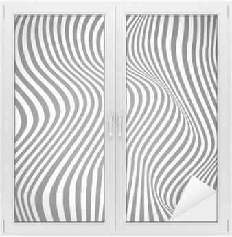 Naklejka na Szybę i Okno Czarno-białe zakrzywione linie, fale powierzchniowe, vector design