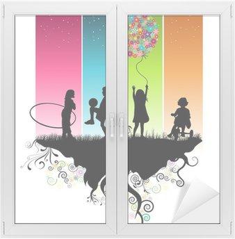 Naklejka na Szybę i Okno Dzieci bawiących