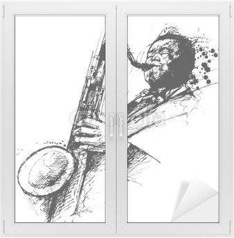 Naklejka na Szybę i Okno Freehanding rysunek saksofonista jazzowy