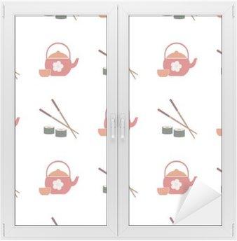 Naklejka na Szybę i Okno Jednolite tło z japońskich symboli dla projektu