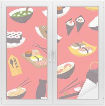 Naklejka na Szybę i Okno Jednolite wzór sushi, płaska konstrukcja wektor dla restauracji, menu, kawiarni, kulinarnych blogów i stron.
