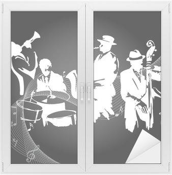 Naklejka na Szybę i Okno Koncert jazzowy czarnym tle
