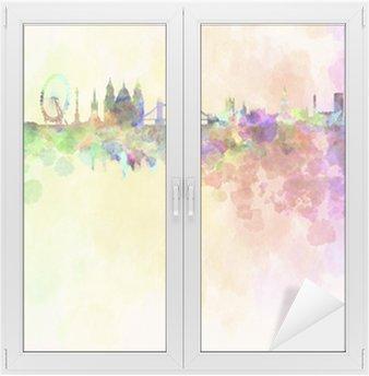 Naklejka na Szybę i Okno Londyn skyline w tle akwarela
