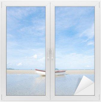 Naklejka na Szybę i Okno Mała łódź na plaży