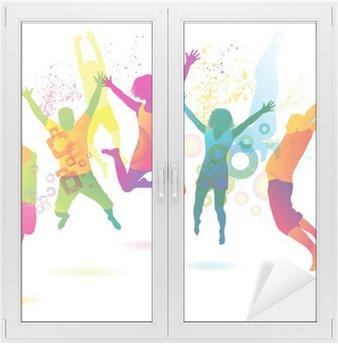 Naklejka na Szybę i Okno Młodych ludzi na imprezie. nastolatki taniec.
