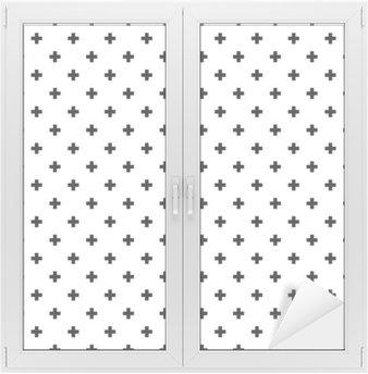 Naklejka na Szybę i Okno Monochromatyczny, czarno-białe abstrakcyjne krzyże bezszwowe tło wzór.