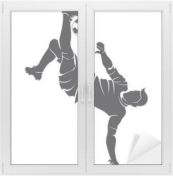 Naklejka na Szybę i Okno Piłka nożna wektorowe (soccer) sylwetka gracza z kulowym odizolowanych