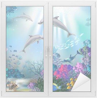 Naklejka na Szybę i Okno Podwodny świat z delfinami i roślin