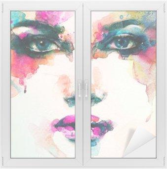 Naklejka na Szybę i Okno Portret kobiety .abstract tle akwarela .fashion