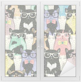 Naklejka na Szybę i Okno Powtarzalne z hipster cute kotów dla dzieci