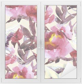 Naklejka na Szybę i Okno Ręcznie malowane akwarela peonie i ptaki żuraw