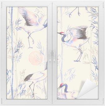 Naklejka na Szybę i Okno Ręcznie rysowane Akwarele szwu z białych japońskich żurawi tańca. Powtarzające się tło z delikatnymi ptaków i bambusa