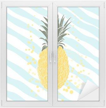 Naklejka na Szybę i Okno Ręcznie rysowane ananasa. tło wektor