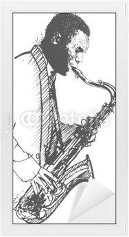 Naklejka na Szybę i Okno Saksofonista rysunek ręcznie na białym tle