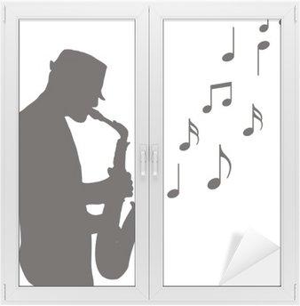 Naklejka na Szybę i Okno Saksofonista rysunek