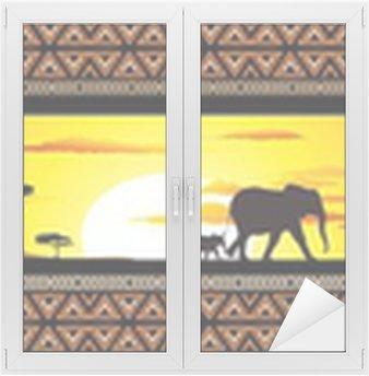 Naklejka na Szybę i Okno Savana Tramonto e animali-Savannah Sunset i zwierzęta-Banner