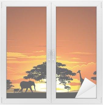 Naklejka na Szybę i Okno Sawanna zachód słońca i zachód słońca Savannah zwierząt-i-zwierzęta 2 wektor