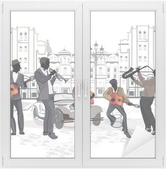 Naklejka na Szybę i Okno Seria widokiem na ulicę z muzykami