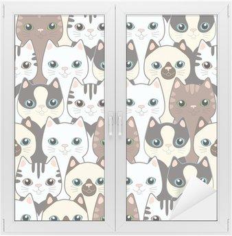 Naklejka na Szybę i Okno Śmieszne koty kreskówek. powtarzalne wzór