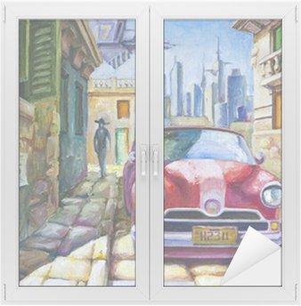 Naklejka na Szybę i Okno Stary czerwony samochód na ulicy Sunny