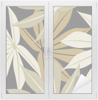 Naklejka na Szybę i Okno Stylowe szwu z tropikalnych liści
