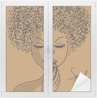 Naklejka na Szybę i Okno Sylwetka Singer z notatkami muzyczne włosy