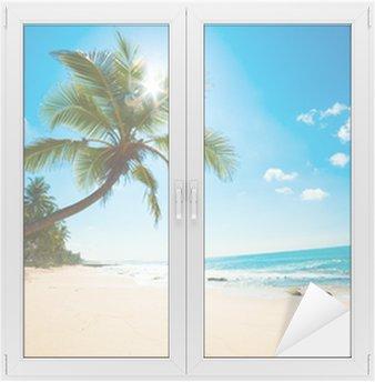 Naklejka na Szybę i Okno Tropikalna plaża w słońcu