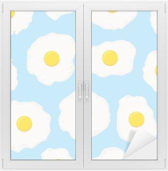 Naklejka na Szybę i Okno Wektor bez szwu deseń śniadanie z jajkiem sadzonym