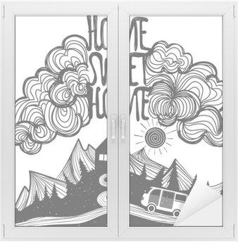 Naklejka na Szybę i Okno Wektor inspirujący plakat z góry, dom, samochód i cytatem