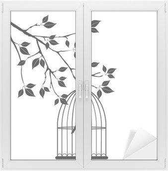 Naklejka na Szybę i Okno Wektor ptak w klatce w drzewie