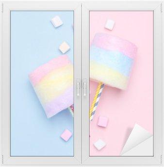 Naklejka na Szybę i Okno Wielobarwny Wata cukrowa. Pastelowe marshmallows. Minimalny styl. pastelowe tła
