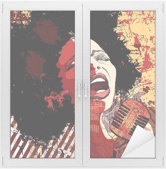 Naklejka na Szybę i Okno Wokalistka jazzowa na tle grunge