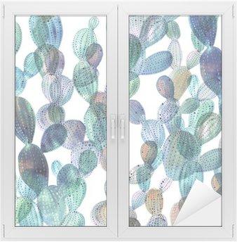 Naklejka na Szybę i Okno Wzór Kaktus w stylu akwareli