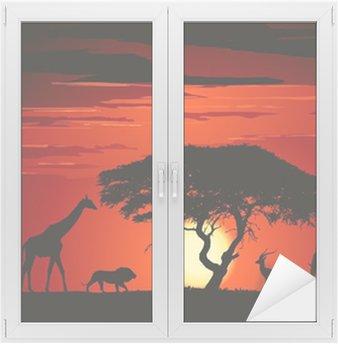 Naklejka na Szybę i Okno Zwierzęta na sawannie