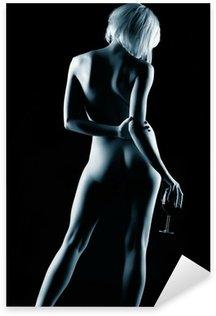 Naklejka Pixerstick Naga kobieta i wino