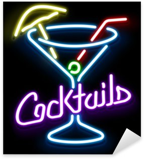 Naklejka Pixerstick Neon Szkło Cocktail