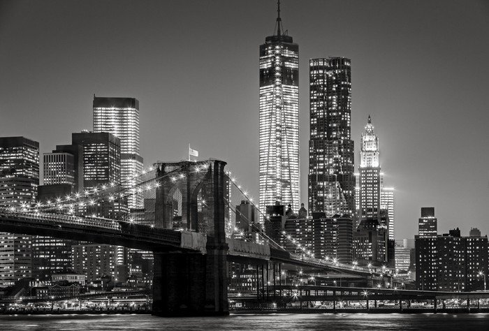 Naklejka Nowy Jork nocą. Brooklyn Bridge, Lower Manhattan - czarny -