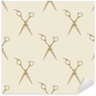 Naklejka Pixerstick Nożyczki wzór płytki bez szwu rocznika tle fryzjera symbol godło etykieta kolekcji