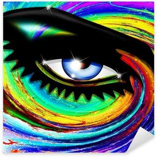 Naklejka Pixerstick Occhio Ipnotico Psichedelico-hipnotyczne Psychedelic dziewczyny oczu